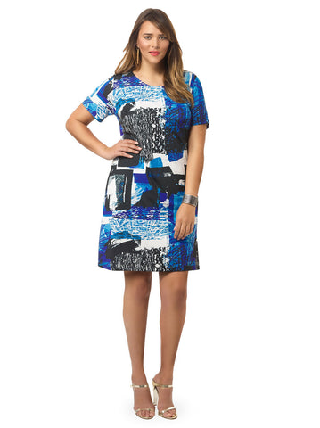 Black & Blue Paper Mache Shift Dress