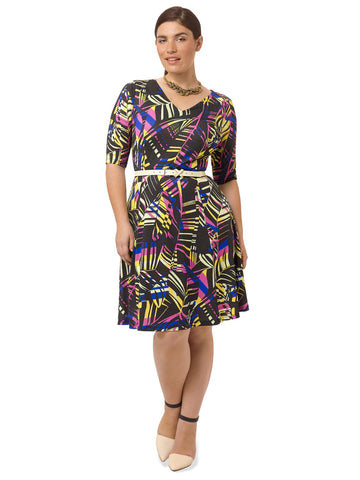 Abstract Palm Fit & Flare Dress