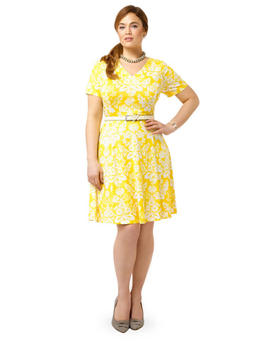Canary Demask Fit & Flare Dress