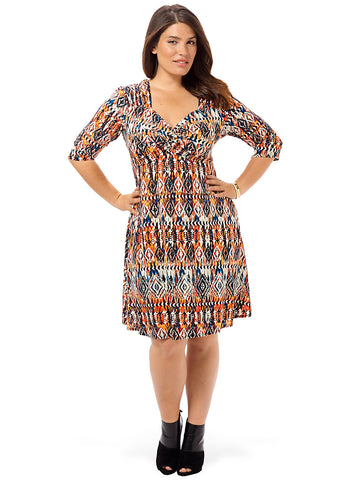 3/4-Knot Front Dress In Aztec Acid