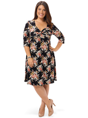 3/4-Knot Front Dress In Bouquet