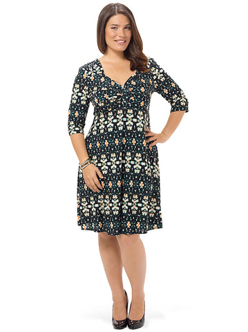 3/4-Knot Front Dress In Night Vision Teal
