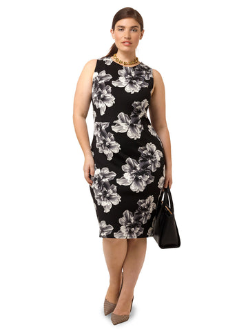 Floral Pencil Dress In Black & Gray
