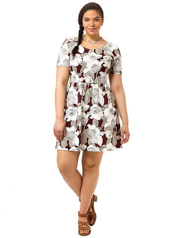 Wine Deco Floral Skater Dress