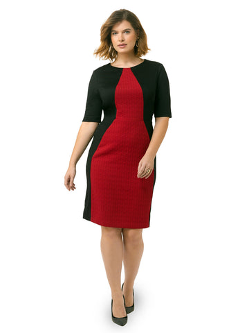 Colorblock Sheath Dress In Red & Black