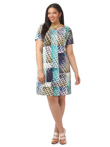 Geometric Animal Print Shift Dress