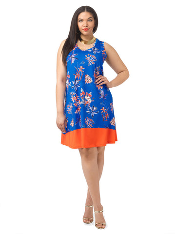 Colorblock Floral Tank Dress