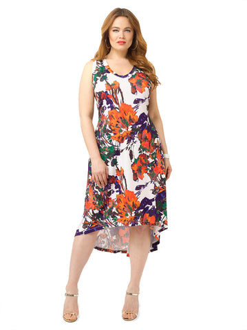 Painted Floral Hi-Lo Tank Dress