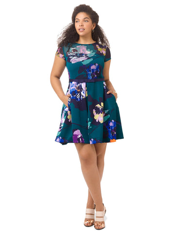 Emerald Fit & Flare Dress In Painterly Floral