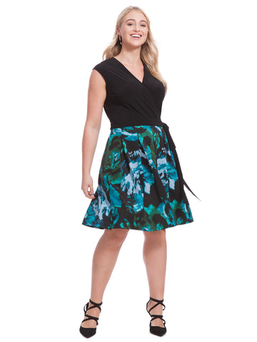 Fit & Flare Dress In Abstract Emerald Print