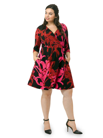 Wrap Dress In Crimson Cherry
