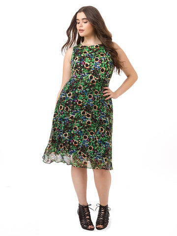 Fit & Flare Dress In Garden Floral