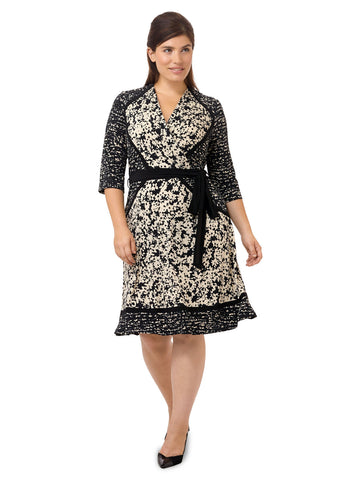 Faux Wrap Dress In Abstract Black & White Print