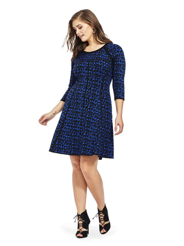 Sweater Dress In Blue Pebble Print