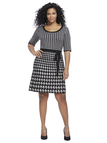Sweater Dress In Houndstooth Print