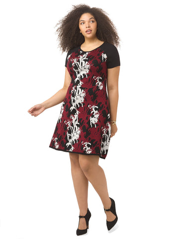 Sweater Dress In Merlot Floral Print