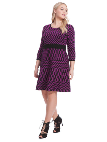 Sweater Dress In Ultra Violet Print