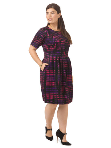 Fit & Flare Dress In Tile Check Print
