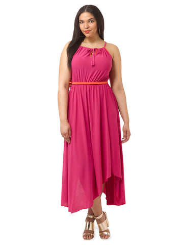 Kaia Halter Maxi Dress In Fuchsia Red