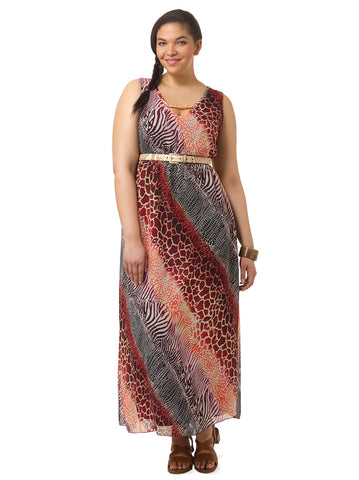 Nichol Maxi Dress In Animal Print