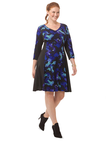 Fit & Flare Dress In Abstract Blue Floral