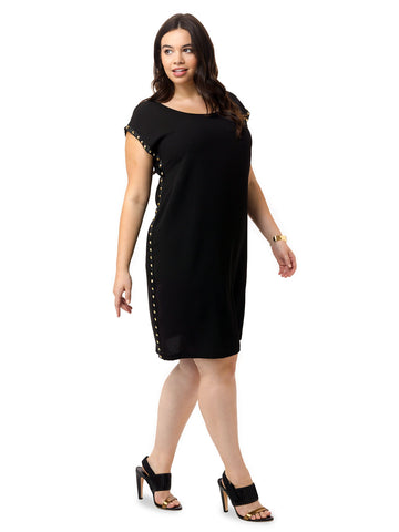 Grommet Stretch Crepe Dress
