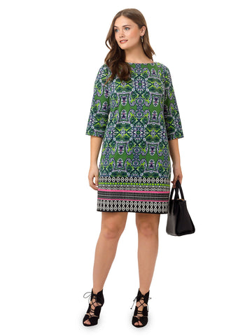 Printed Shift Dress In Lime Green