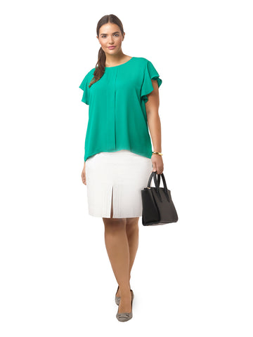 Emerald Ruffle Sleeve Blouse