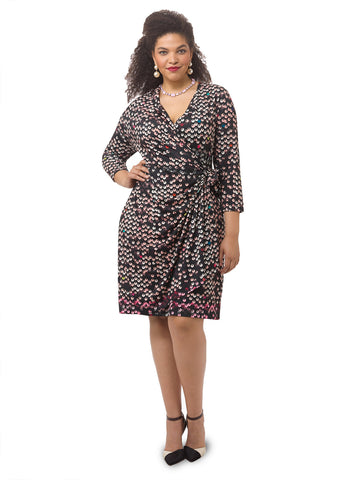 Paillette Printed Faux Wrap Dress