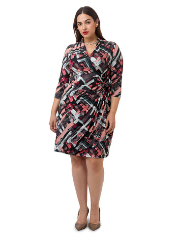 Abstract Printed Faux Wrap Dress