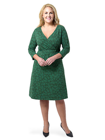 Leaf Pattern Crepe Jersey Dress