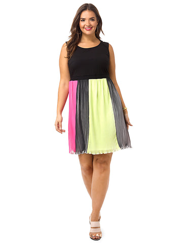 Colorblock Pleat Bottom Dress