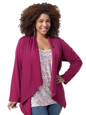 One Button Fleece Cardigan Pink
