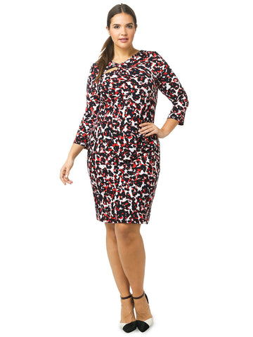 Abstract Print Knot Front Dress