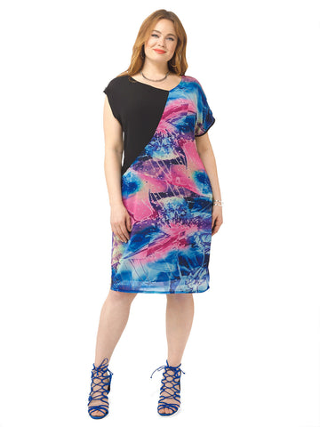 Celestial Print Asymmetric Dress