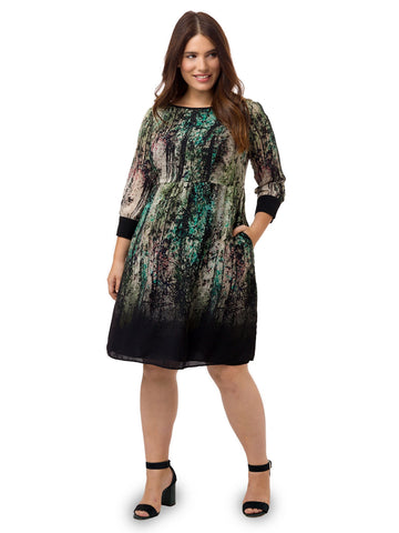 Digital Forest Print Fit and Flare Dress