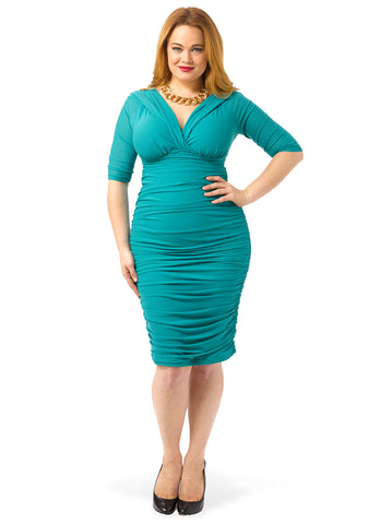 Betsey Ruched Dress In Jade