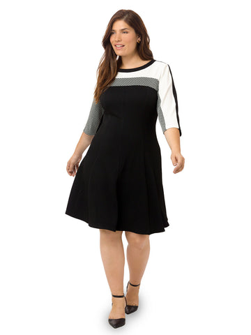 Colorblock Fit & Flare Dress In Bubble Knit