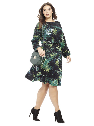 Blouson Knit Dress In Garden Floral