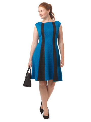 Fit & Flare Dress In Black & Blue