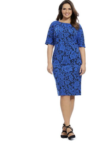 Bodycon Jacquard Dress In Blue Floral