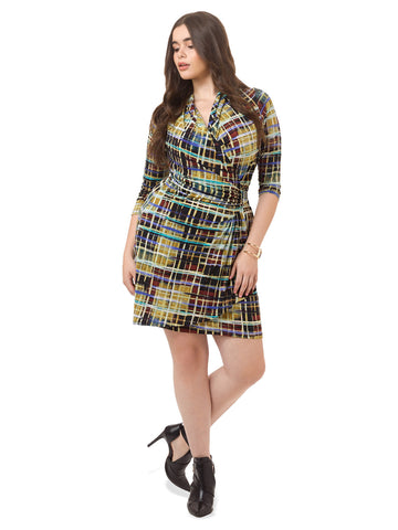 Cascade Wrap Dress In Abstract Plaid