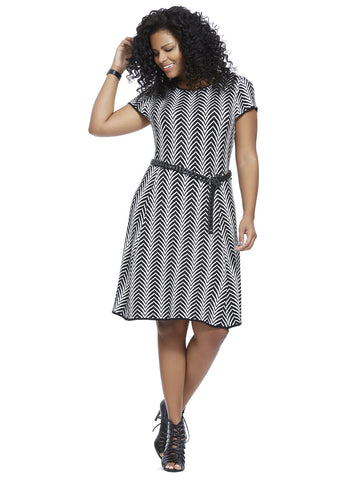 Chevron Sweater Dress In Black & Ivory