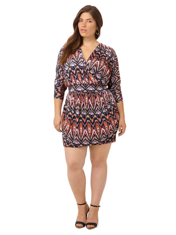 Splice Neck Abstract Print Dress