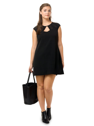 Mesh Cut Out Dress In Black