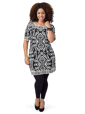 Short-Sleeve Printed Tunic Dress