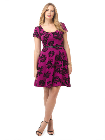 Passion Pink Flocked Rose Dress