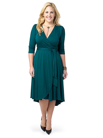 Winona Hi-Lo Wrap Dress Green