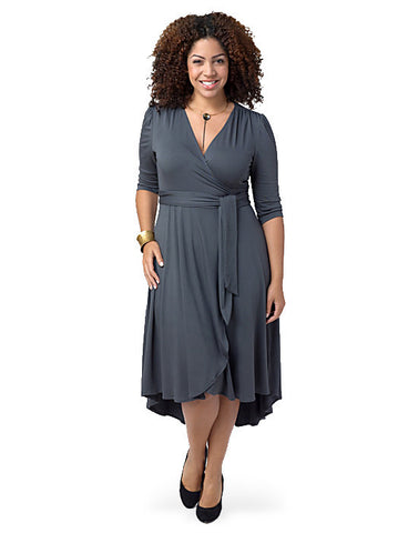 Winona Hi-Lo Wrap Dress Gray
