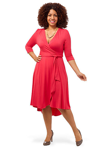 Winona Hi-Lo Wrap Dress Coral